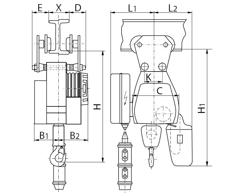 Тельфер цепной грузоподъемность 3 т Matrix 519865